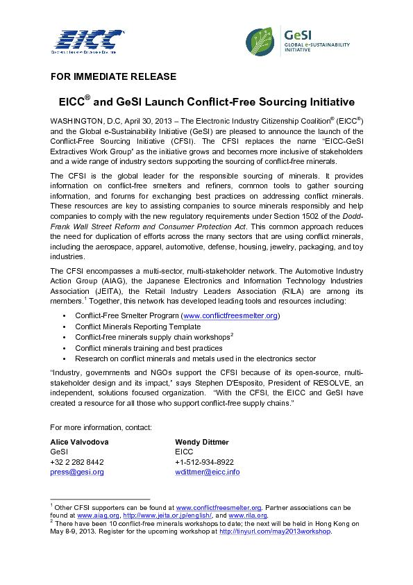 EICC® and GeSI Launch Conflict-Free Sourcing Initiative